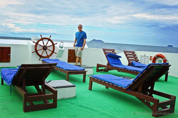 Boat deck of Archipel II in Galapagos Islands