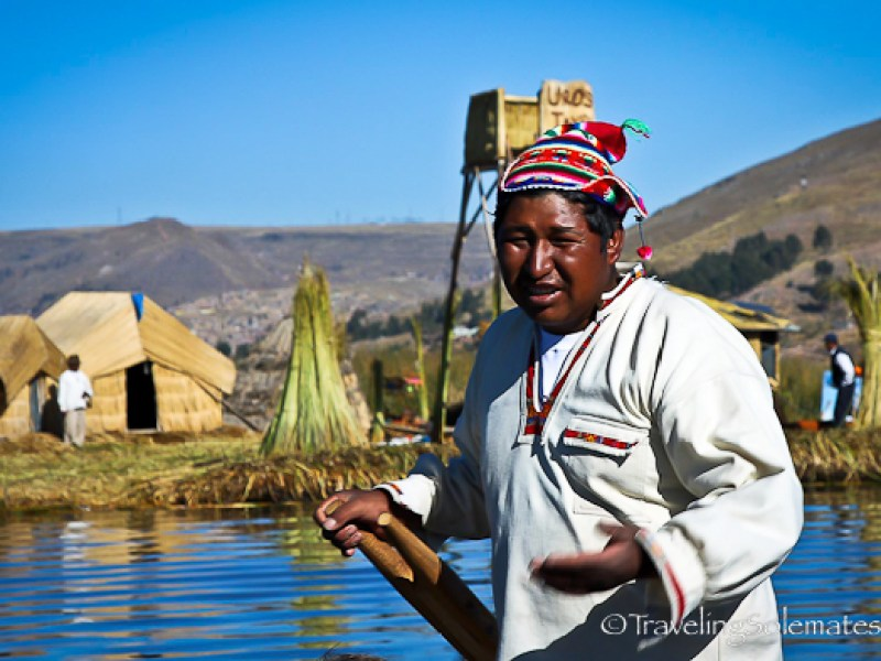 Man on Floating Island of the Uros, Lake Titicaca, Peru