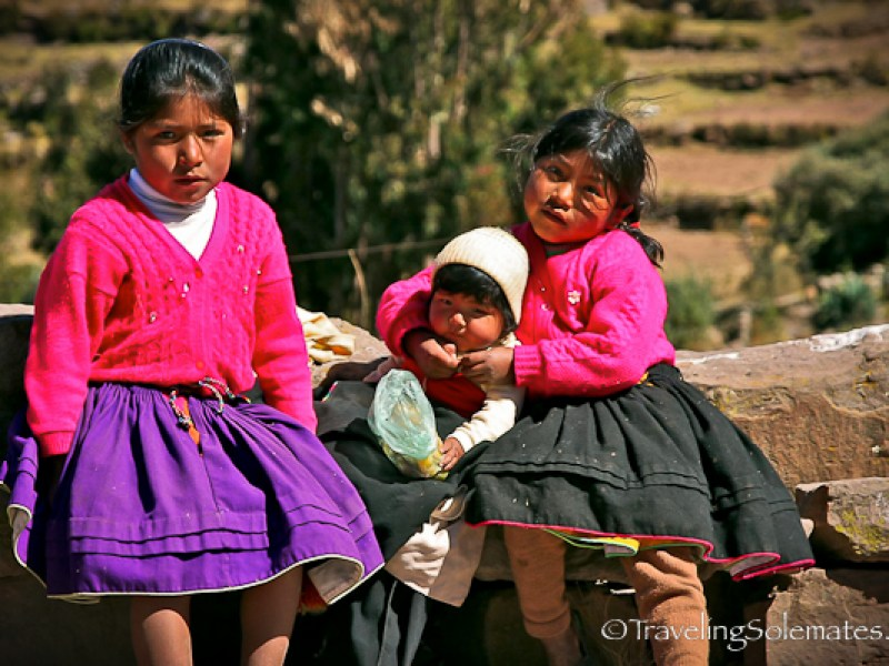 Children on Taquile Island, Lake Titicaca, Peru