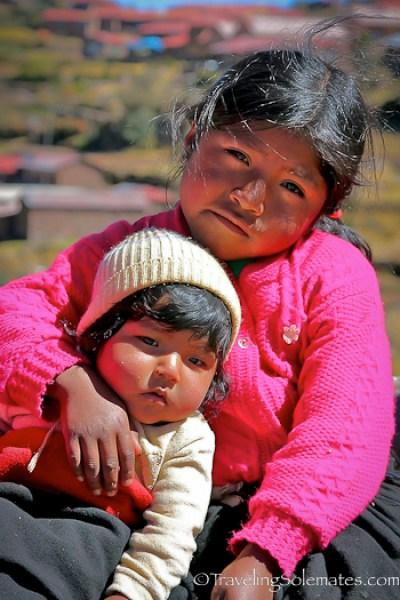 Children of Taquile Island, Lake Titicaca, Peru
