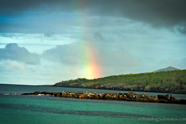 Rainbow in Floreana in Galapagos islands