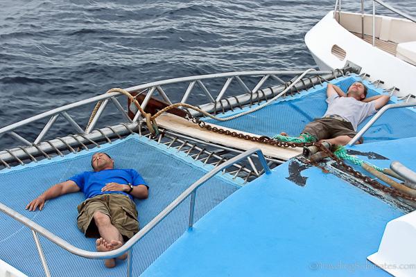 Sleeping on boat in Galapagos islands