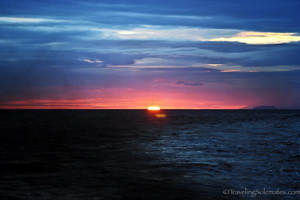 Pink sunset in Galapagos islands