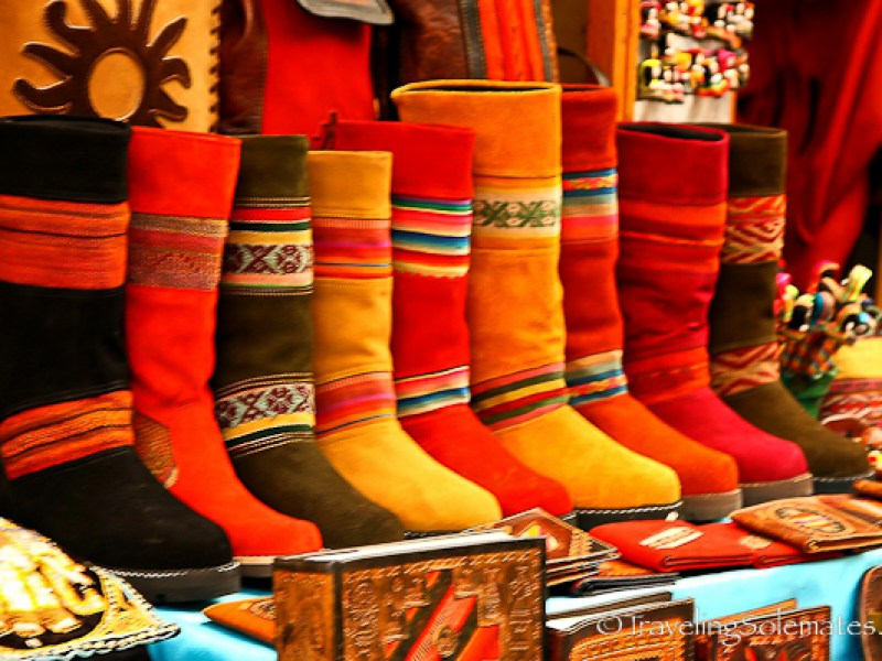 Boots for sale at Pisac Market in Peru