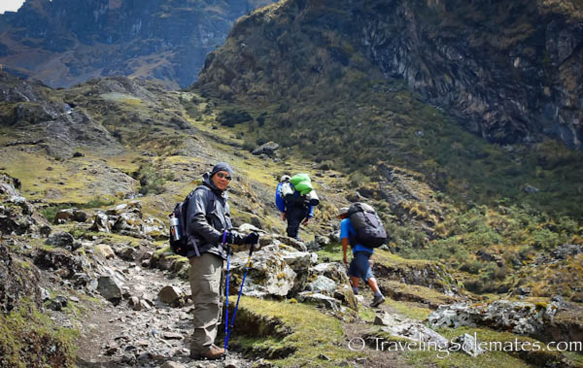 Ascending to the highest pass on Lares Valley Trek, Peru
