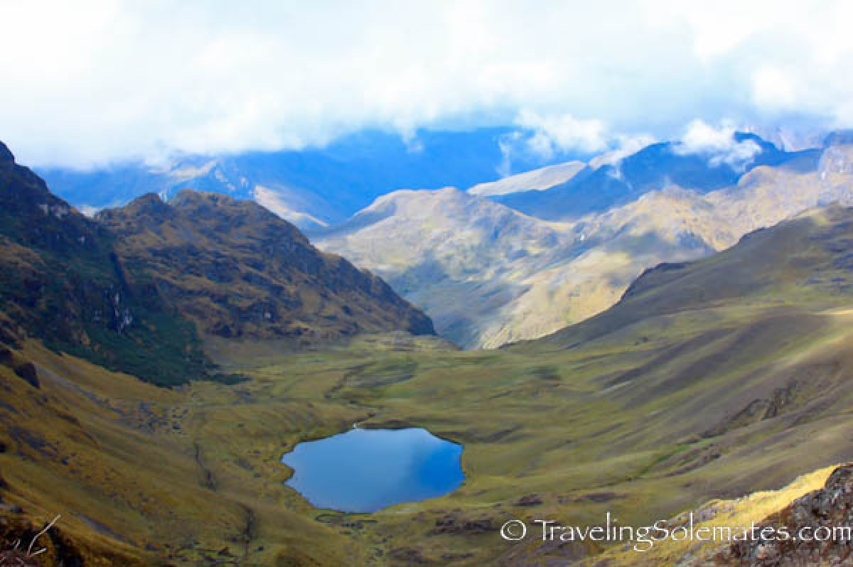 View from Hualcajasa Pass, Lares Valley Trek Peru