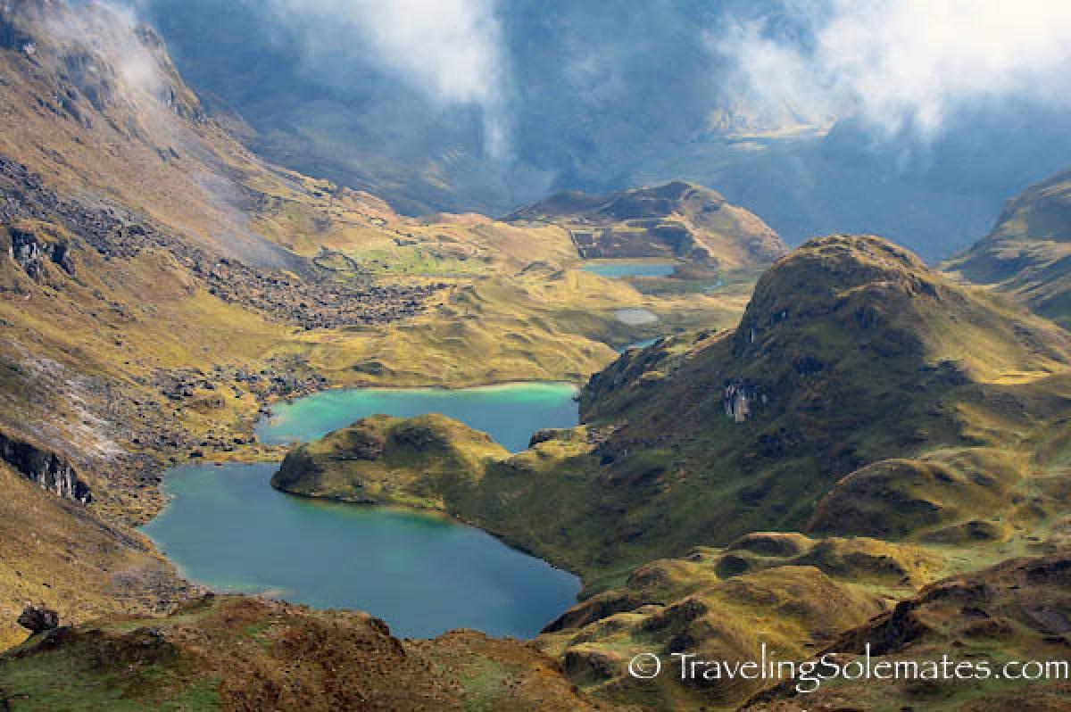 Twin Lagoon. Lares Valley Trek Peru