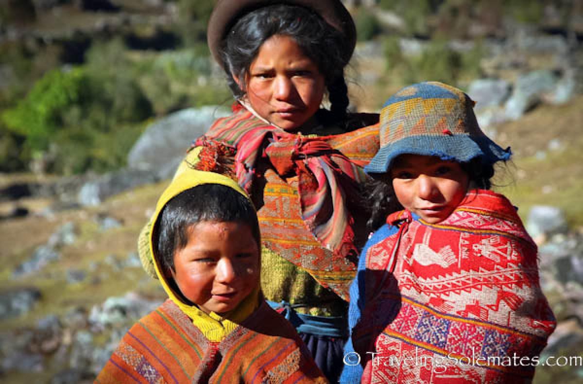 Quechuan children on Lares Valley Trek Peru