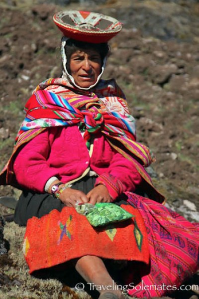 Local Woman with cocoa leaves on Lares Valley Trek Peru