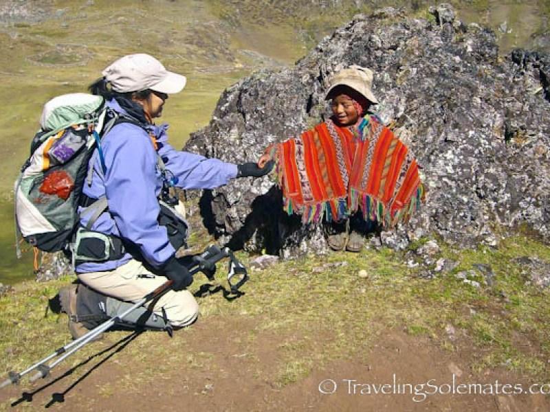 Encounter with little boy on Lares Valley Trek Peru