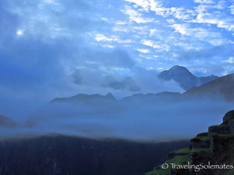 View of clouded mountain from Machu Picchu