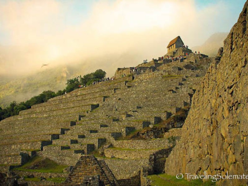 Terraces and Hut of Caretaker in Machu Picchu