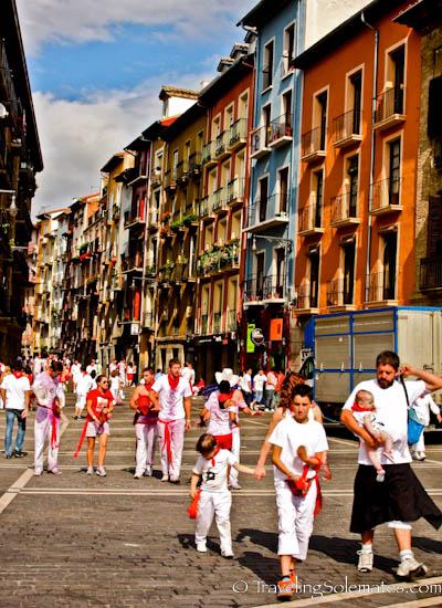 People on the street duing Fiesta de San Fermin, Pamplona, Spain