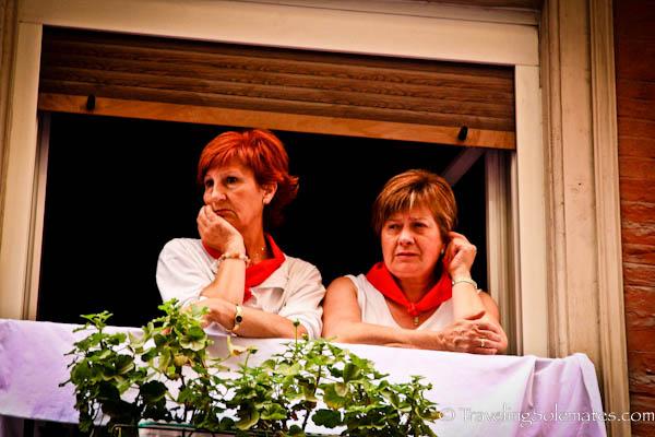 Women waiting for The Procession, Fiesta de San Fermin, Pamplona, Spain