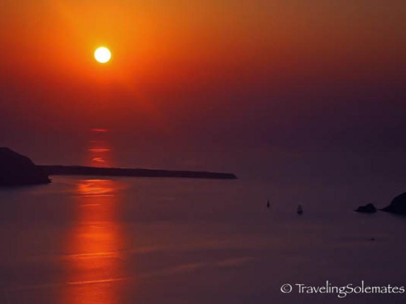 Sunset view from Anastasis Apartment, Imerovigli, Santorini, Greece