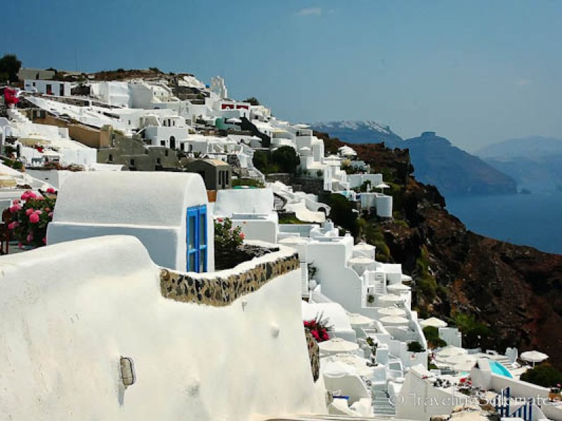 Whitewashed houses of Oia in Santorini, Greece