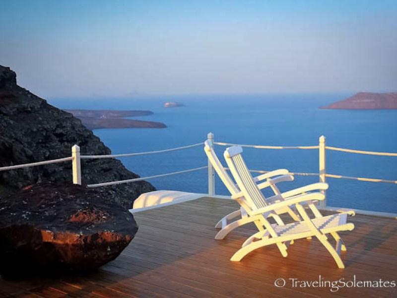 The deck of Anastasis Apartment, Imerovigli,Santorini, Greece