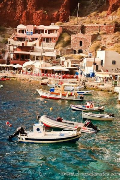 Boats on Port of Ahmoudi in Santorini, Greece