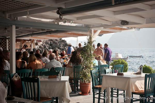Taverna in Port of Ahmoudi, Santorini, Greece