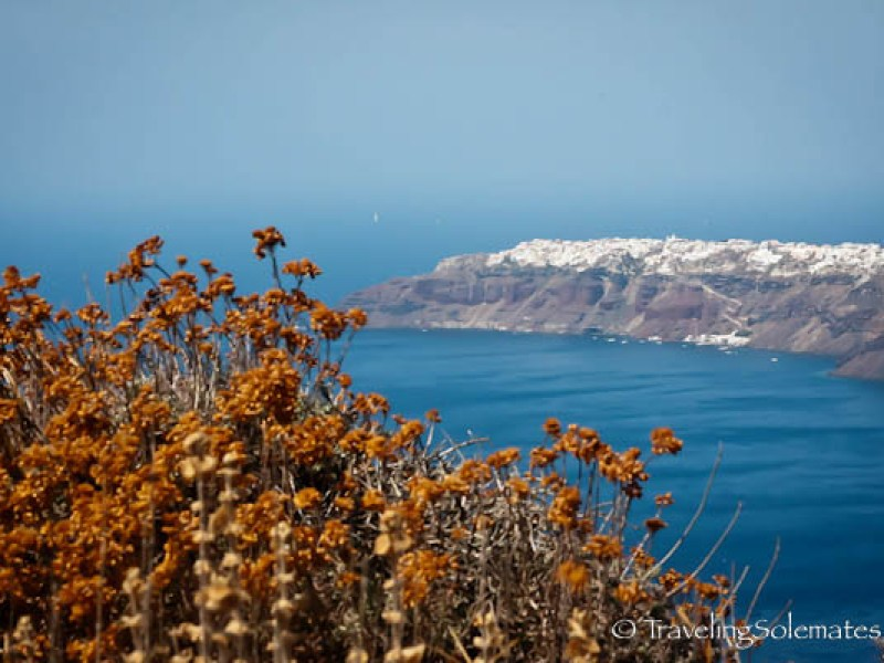 View from hiking trail in Santorini, Greece