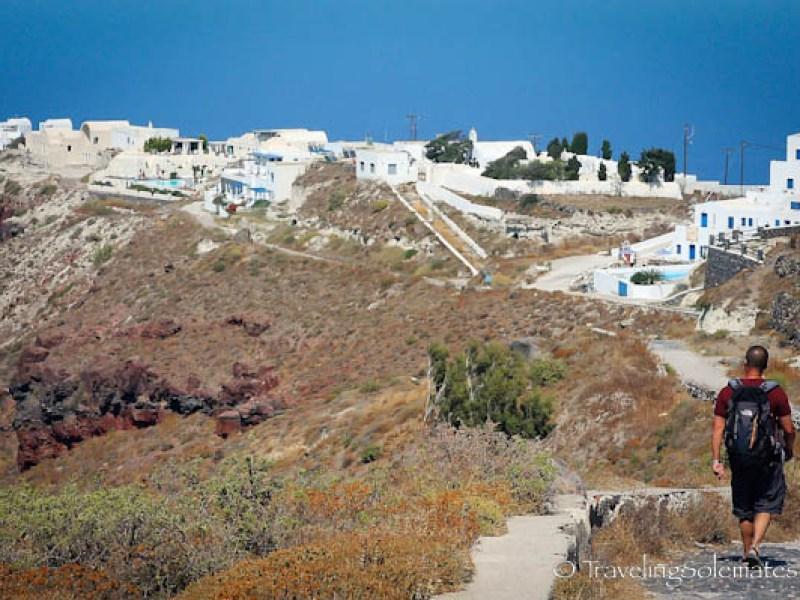 Walking trail in Santorini, Greece