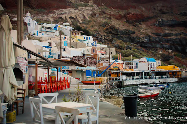 Early morning in the port of Ammoudi, Santorini, Greece