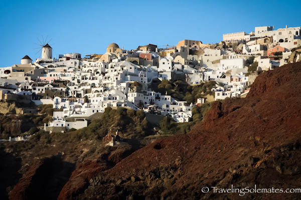 View of Oia from sunset Cruise, Santorini, Creece