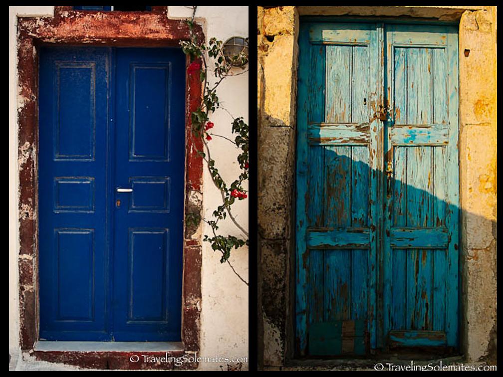 Blue doors, Oia, Santorini, Greece