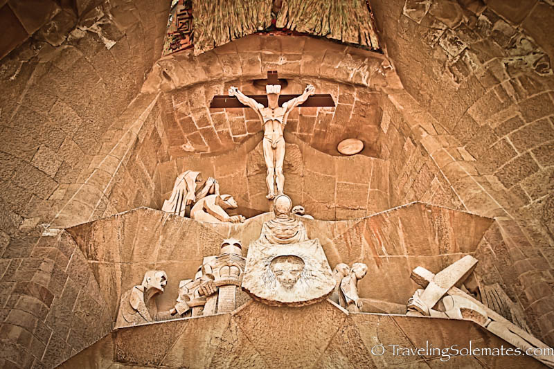A cross in Gaudi's Sagrada de Familia, Barcelona, Spain