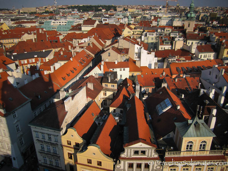 View of colorful rooftops from Old Town Hall.