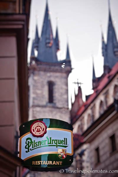 Pilsner Urquell Bar Signage,  Stare Meto (Old Town) , Prague, Czech Republic
