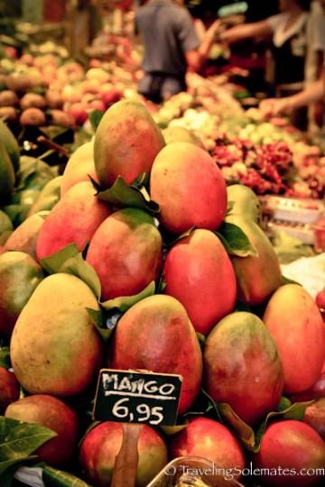 Mangoes for sale, La Boquería, Barcelona, Spain
