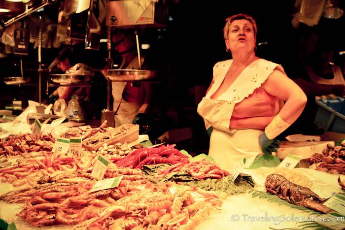 Seafood vendor in La Boquería, Barcelona, Spain
