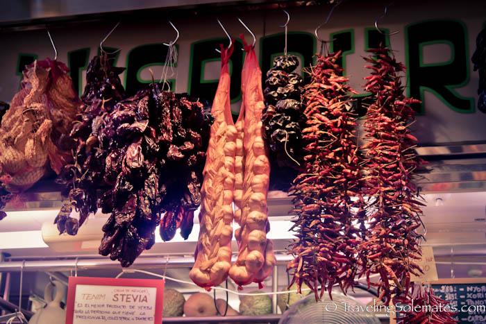 Garlic and Peppers for sale in La Boquería, Barcelona, Spain