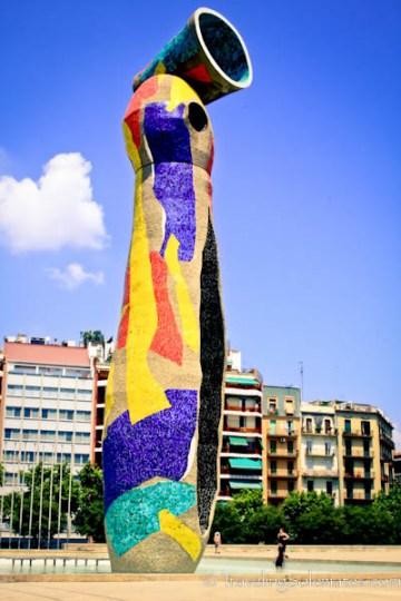 Donna i Ocell (Woman and Bird) sculpture, Parc Joan Miro, San Sebastian, Spain