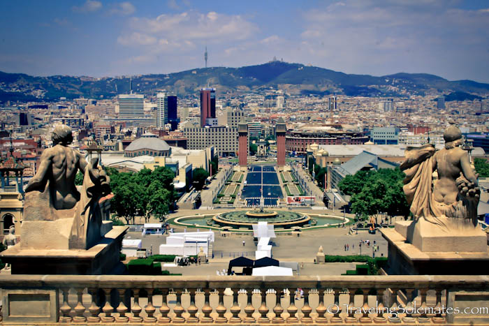 View of Plaza Espana from Montjuic, Barcelona, Spain