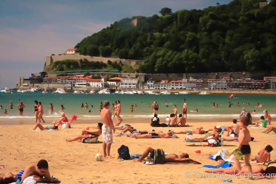 People at La Concha Beach, San Sebastian Spain