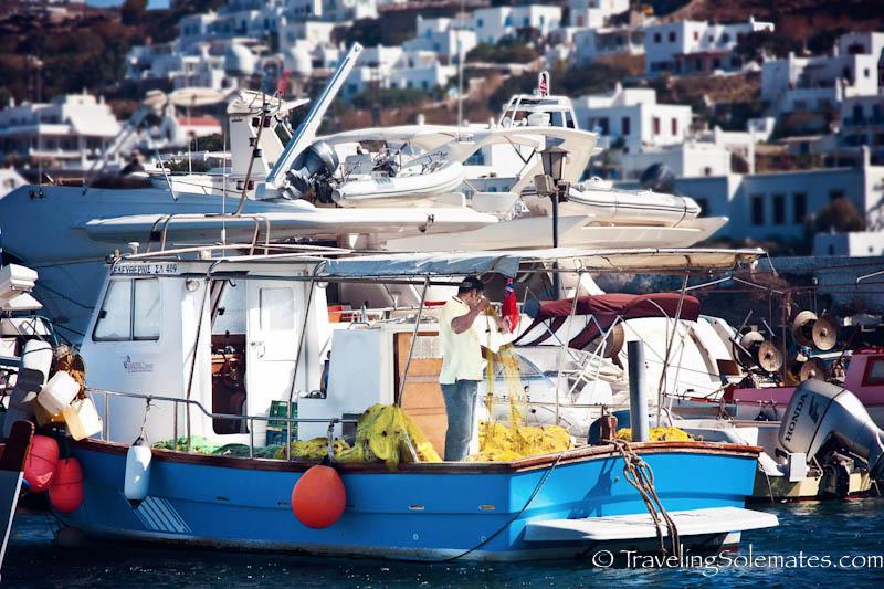 Fishing boats in Old Port, Mykonos, Greece