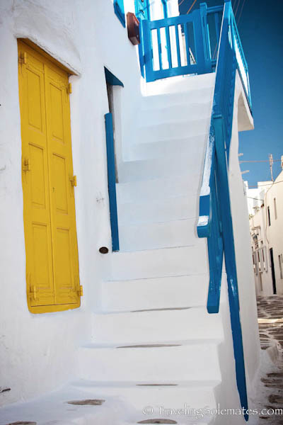 Yellow door and white stairs, Alleys of Mykonos, Greece