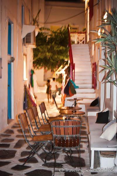 Restaurant in an alley, Mykonos, Greece
