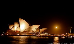 Moon over Sydney Opera House, Australia