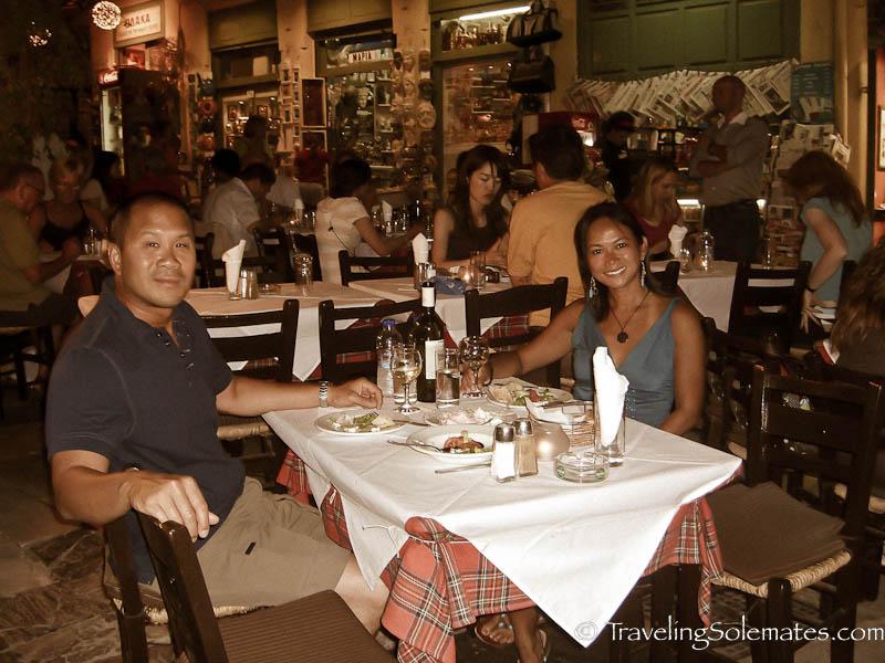 Dining at Plaka, Athens, Greece