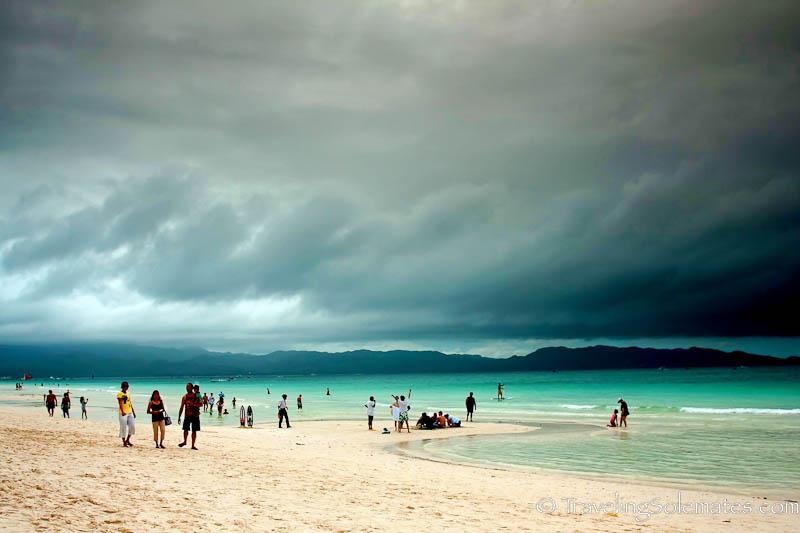 People waliking on the beach, Boracay Island, Philippines