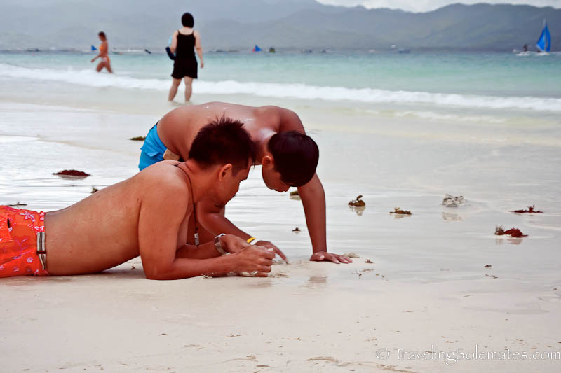 Looking for Crabs, Boracay Island, Philippines