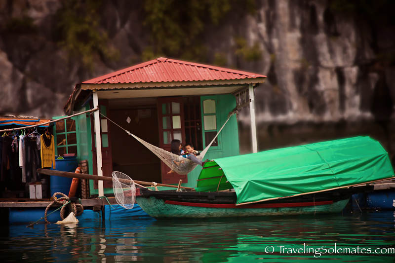 A home in Vung Vieng Floating Fishing Village, Halong Bay, Vietnam