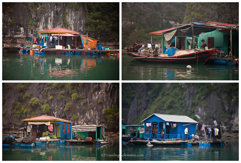 Houses in Vung Vieng Floating Fishing Village, Halong Bay, Vietnam