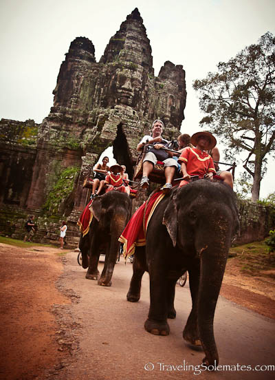 Elephants entering Angkor Thom South Gate, Cambodia