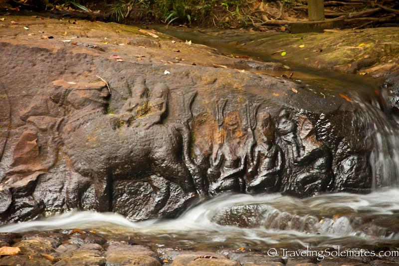 Shiva and Uma riding a Bull, Kbal Spean, Cambodia