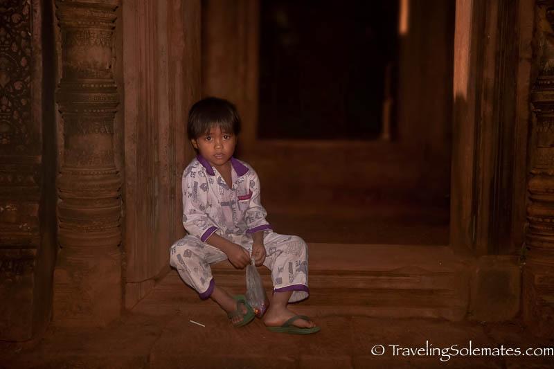 A boy in Banteay Srei Temple, Angkor, Cambodia