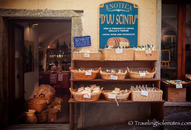 Shops in Riomagiorre, Hiking in Cinque Terre, Italy